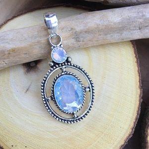 Milky opal gemstone silver pendant